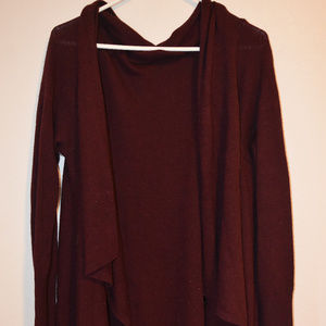 Burgundy oversize high-low cardigan